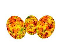 3d rendering. Oval spheres painted with bright autumn colors Stock Image