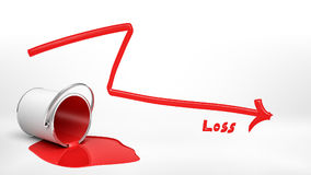 3d rendering of an overturned red paint bucket leaking paint into a puddle beside a red negative arrow and a word `Loss. `. Money loss. Market bust. Negative Stock Photo