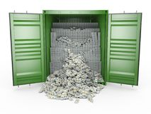 3d rendering packs of US dollars. Scattered from cargo container Vector Illustration