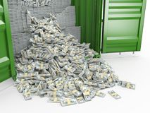 3d rendering packs of US dollars. Scattered from cargo container Royalty Free Illustration