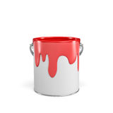 3d rendering of a paint bucket full of red paint Stock Photo