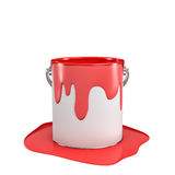 3d rendering of a paint bucket full of red paint with some of it overflown to the ground. Stock Photo
