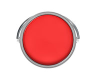 3d rendering of a paint bucket full of red paint in top view Stock Images