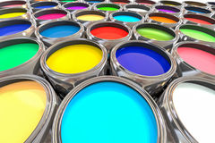 3D rendering Paint pot with multiple colors sideview Stock Photography