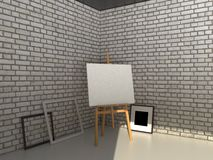 3D rendering painting mockup. Easel with canvas on a brick wall background. Realistic painting mockup design. 3D rendering illustration Royalty Free Stock Photo