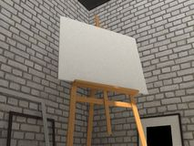 3D rendering painting mockup. Easel with canvas on a brick wall background. Realistic painting mockup design. 3D rendering illustration Stock Image