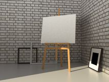 3D rendering painting mockup. Easel with canvas on a brick wall background. Realistic painting mockup design. 3D rendering illustration Stock Photo