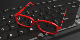 3d rendering pair of eye glasses on a keyboard Stock Photography