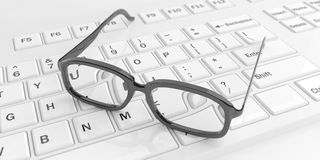 3d rendering pair of eye glasses on a keyboard Stock Images