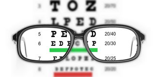 3d rendering pair of glasses and eyesight test Stock Image