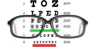 3d rendering pair of glasses and eyesight test Royalty Free Stock Photo