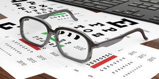 3d rendering pair of glasses and eyesight test Stock Images