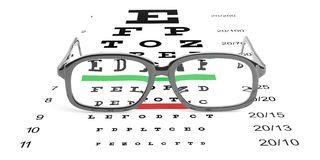 3d rendering pair of glasses and eyesight test Royalty Free Stock Photography