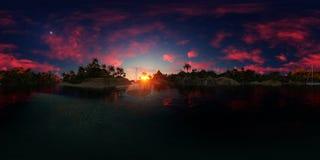 3d rendering palmy wyrzucać na brzeg w wyspy zatoce zdjęcia stock