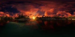 3d rendering palmy wyrzucać na brzeg w wyspy zatoce obrazy stock