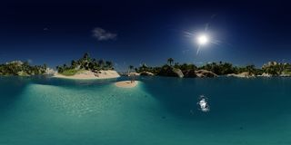 3d rendering palmy wyrzucać na brzeg w wyspy zatoce obrazy royalty free