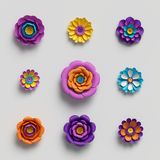 3d render, decorative paper flowers, floral background, botanical pattern, vivid candy colors, vibrant palette, isolated. 3d rendering, paper art, decorative vector illustration