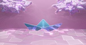 3d rendering. Paper boat made of light paper on the background of low-poly sea and clouds of light pink color. Abstract stock images