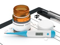 3d rendering of paracetamol pills with thermometer. 3d rendering of paracetamol pills lying with thermometer on rx and clipboard. Acetaminophen medication Royalty Free Stock Images