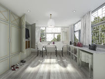 3d rendering parquet floor make up and dressing room Royalty Free Stock Photography