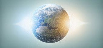 3d rendering particles earth globe. View of a 3d rendering particles earth globe Stock Photo