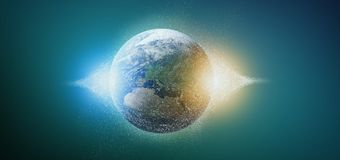 3d rendering particles earth globe. View of a 3d rendering particles earth globe Royalty Free Stock Photo