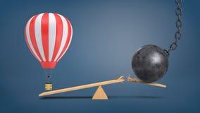 3d rendering pasiasty lotniczy balon unosi się przy drewnianym seesaw nadważy rujnuje piłkę która łama deskę Fotografia Royalty Free