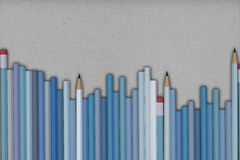 Blue pastel pencils background. 3D Rendering of pencils on  packing paper background Stock Image