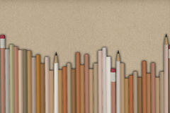 Nature pastel pencils background. 3D Rendering of pencils on  packing paper background Royalty Free Stock Photo