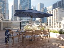Penthouse terrace in a big city. 3d rendering Stock Photos