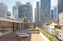 Penthouse terrace in a big city. 3d rendering Stock Images