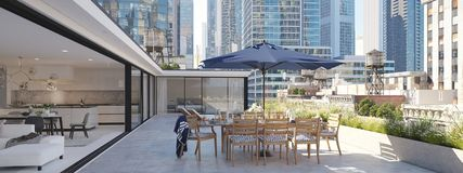 Penthouse terrace in a big city. 3d rendering Stock Photo