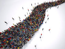 3D Rendering people form a winding road. Mass of people in a row forming a serpentine. 3D rendering vector illustration