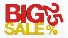 3D rendering of a 25 Percent and Big Sale Text. On Isolated Background Stock Images