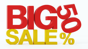 3D rendering of a 50 Percent and Big Sale Text. On Isolated Background Royalty Free Stock Photography