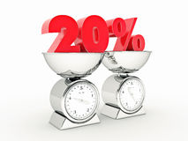 3D rendering of a 20 percent discount. Design made in 3D stock illustration