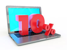 3D rendering of a 10 percent discount - Laptop and discounts in Internet. Design made in 3D Royalty Free Stock Photo