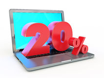 3D rendering of a 20 percent discount - Laptop and discounts in Internet. Design made in 3D Royalty Free Stock Image