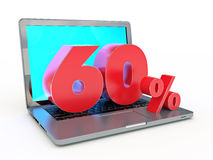 3D rendering of a 60 percent discount - Laptop and discounts in Internet. Design made in 3D Royalty Free Stock Images