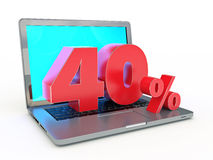 3D rendering of a 40 percent discount - Laptop and discounts in Internet Royalty Free Stock Image