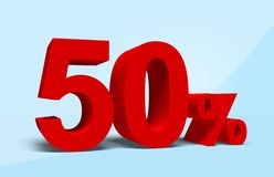 50 percent. 3D rendering of a 50 percent in red letters Stock Photography