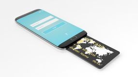 3D rendering of phone with credit card Stock Photos