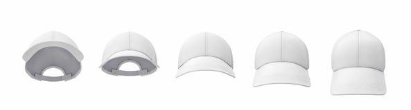 3d rendering pięć białych baseballi nakrętek pokazywać w jeden linii w frontowym widoku w różnych kątach ale Ilustracji