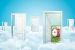 3d rendering pięć drzwi stoi na puszystych chmurach, jeden drzwiowy prowadzić zielenieć gazon z dużym czerwonym budzikiem na nim royalty ilustracja