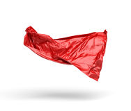 3d rendering of piece of red satin clothes is flying in the air isolated on white background. 3d modelling. Art object. Design element Royalty Free Stock Photography