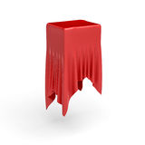 3d rendering of a piece of red satin clothes is hiding a box on the center  on white background Royalty Free Stock Photo