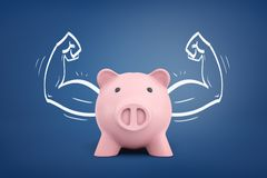 3d rendering of a piggy bank front view with strong arms drawn on both sides on a blue background. royalty free illustration