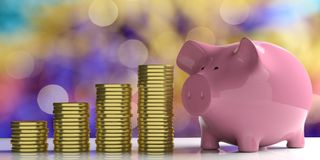 3d rendering piggy bank and golden coins on blurry background Stock Photo