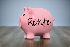 Piggy bank with the word pension in german language Royalty Free Stock Images