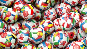 3d rendering Pile of classic soccer balls. With flags stock illustration
